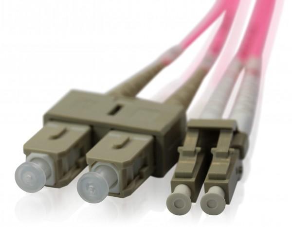 LWL Patchkabel SC/PC - LC/PC OM4 - 2,0 mm x 4,0 mm